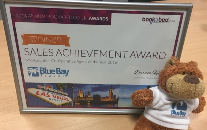2016 Annual Bookabed.co.uk Awards Sales Achievement Award Mid-Counties Co-Operative Agent of the Year 2016