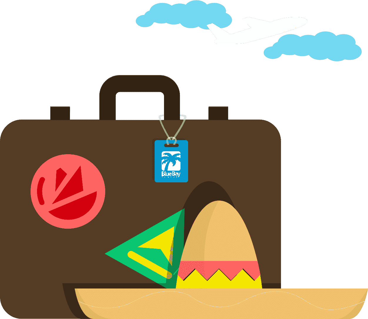 Suitcase and sombrero